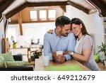 enjoying morning coffee... | Shutterstock . vector #649212679