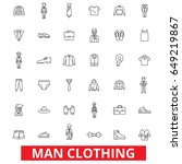 Stock vector man clothing clothes fashion wear shoes tie suit shirt style dress code line icons 649219867