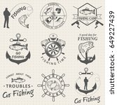 set of vintage fishing labels ... | Shutterstock . vector #649227439