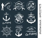 set of vintage fishing labels ... | Shutterstock . vector #649227475