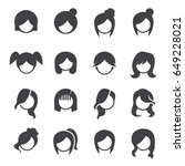 women hairstyle vector | Shutterstock .eps vector #649228021