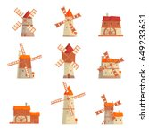 rural windmills set. collection ... | Shutterstock .eps vector #649233631
