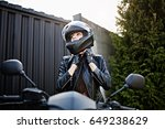 pretty girl on a motorcycle...   Shutterstock . vector #649238629