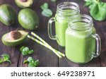 avocado and spinach smoothies | Shutterstock . vector #649238971
