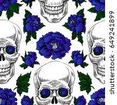 day of the dead gold skull.... | Shutterstock .eps vector #649241899