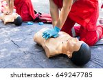 cpr. first aid training concept....   Shutterstock . vector #649247785