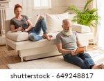 husband using digital tablet... | Shutterstock . vector #649248817