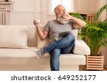 senior bearded man yawning with ... | Shutterstock . vector #649252177