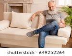 senior bearded man smiling and... | Shutterstock . vector #649252264