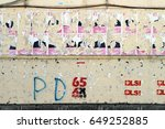half torn election posters and... | Shutterstock . vector #649252885