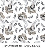 watercolor paisley pattern....   Shutterstock . vector #649253731