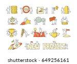 cartoon set of sketch little... | Shutterstock .eps vector #649256161