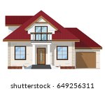 the facade of brick house with... | Shutterstock .eps vector #649256311