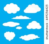 white cloud icon set. fluffy... | Shutterstock .eps vector #649256425
