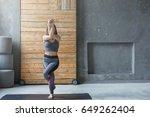 woman in yoga class making...   Shutterstock . vector #649262404