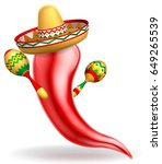 a mexican red chilli pepper... | Shutterstock . vector #649265539