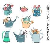 cute hand drawn vector watering ...   Shutterstock .eps vector #649266004