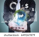 businessman with financial... | Shutterstock . vector #649267879