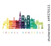brussels skyline detailed... | Shutterstock .eps vector #649270111
