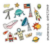 space patch badges. vector... | Shutterstock .eps vector #649272949