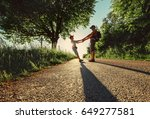 father and son take with hands... | Shutterstock . vector #649277581
