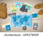 preparing for vacation  travel  ... | Shutterstock .eps vector #649278409