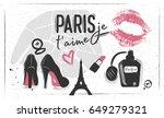 paris silhouette map   lipstick ... | Shutterstock .eps vector #649279321