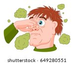 cartoon man feeling bad smell | Shutterstock .eps vector #649280551