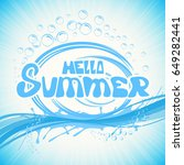 lettering hello summer with... | Shutterstock .eps vector #649282441