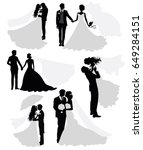 set of vector silhouettes of a ... | Shutterstock .eps vector #649284151