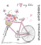 bicycle with a basket full of... | Shutterstock .eps vector #649284841