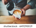 closeup image of male barista... | Shutterstock . vector #649290019