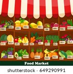 fresh organic food products... | Shutterstock .eps vector #649290991