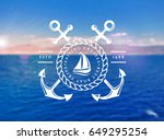 sailing cruises logo on blurred ... | Shutterstock .eps vector #649295254
