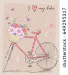 bicycle with a basket full of... | Shutterstock .eps vector #649295317