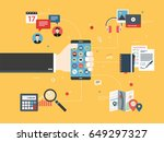hand holding mobile phone with... | Shutterstock .eps vector #649297327