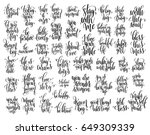 set of 50 hand written... | Shutterstock .eps vector #649309339