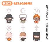 cute kawaii characters set ... | Shutterstock .eps vector #649310605