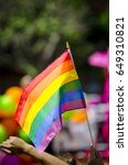 a rainbow flag flying in bright ... | Shutterstock . vector #649310821