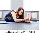 the girl in the gym. young...   Shutterstock . vector #649311301