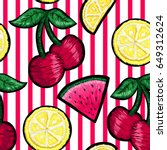 seamless pattern of patches in... | Shutterstock .eps vector #649312624