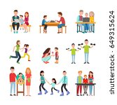 parents teach kid read  play... | Shutterstock .eps vector #649315624