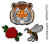 embroidery tiger face  bee... | Shutterstock .eps vector #649319791