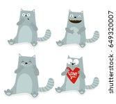 vector set of funny cartoon... | Shutterstock .eps vector #649320007