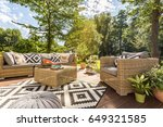 sunny outdoor terrace with... | Shutterstock . vector #649321585