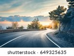 mountain road. landscape with... | Shutterstock . vector #649325635