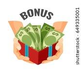 giving money in open present... | Shutterstock .eps vector #649335001