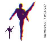 silhouette of a dancer. gymnast.... | Shutterstock .eps vector #649337737