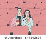 trendy young couple in cinema.... | Shutterstock .eps vector #649342639
