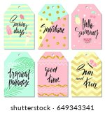 summer tags set with cute hand... | Shutterstock .eps vector #649343341